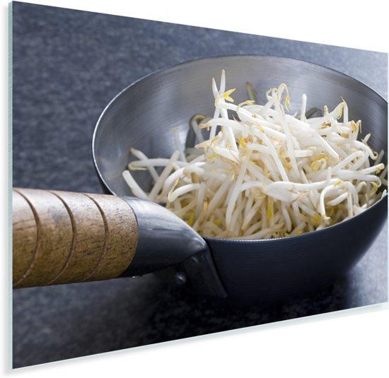 Een wok pan gevuld taugé Plexiglas 60x40 cm - Foto print op Glas (Plexiglas wanddecoratie)