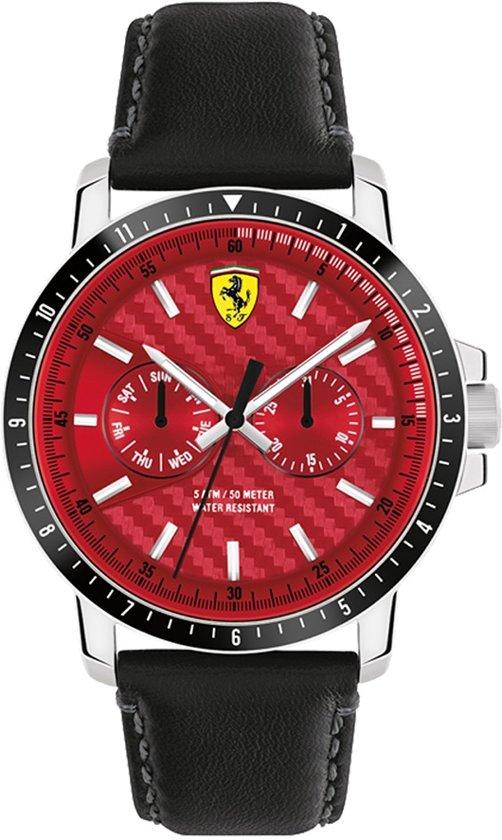 Scuderia Ferrari TURBO SF830449 - Polshorloge - Leer - Zwart - Ø 44