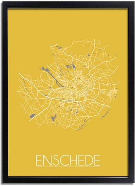 DesignClaud Enschede Plattegrond poster Geel A3 + Fotolijst zwart