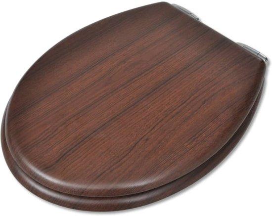 vidaXL Toiletbril met soft-closedeksel 2 st MDF bruin