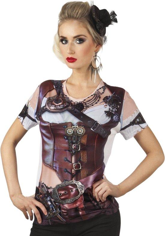 3 stuks: Fotorealistisch shirt - Mrs Steampunk - Small