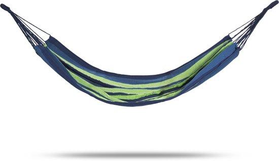 Hangmat | blauw en groen | 100 x 200 cm | incl. opbergtas