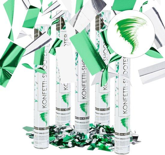 relaxdays 5x confetti kanon zilver-groen - party popper 40 cm confettitube metallic folie Valentinaa