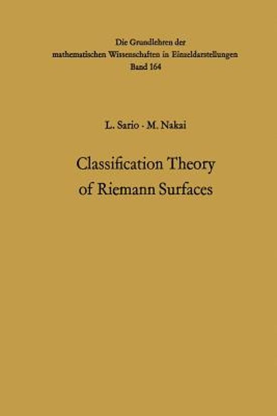 Classification Theory of Riemann Surfaces