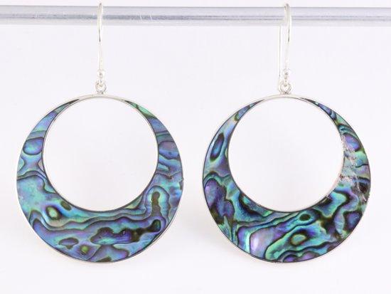 Grote ronde zilveren oorbellen met abalone schelp