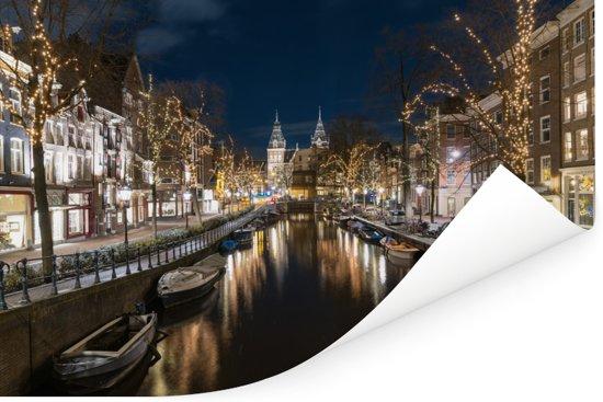 Het Rijksmuseum achter de Spiegelgracht in Amsterdam Poster 90x60 cm - Foto print op Poster (wanddecoratie woonkamer / slaapkamer)