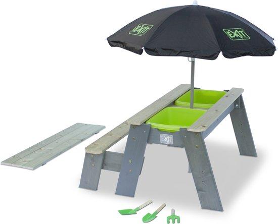 EXIT Aksent Zand- en Water- en Picknicktafel L met Parasol en Schepjes (1 bankje)