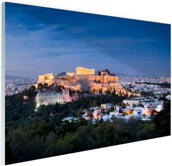 Verlichte Akropolis Glas 90x60 cm - Foto print op Glas (Plexiglas wanddecoratie)