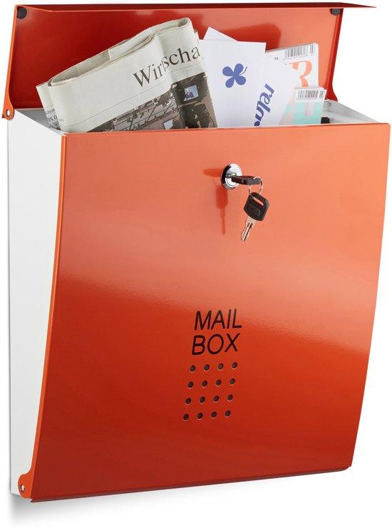relaxdays brievenbus modern verschillende kleuren, A4-formaat, staal wandmontage