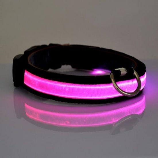 led honden halsband verlichting met optie knipperend licht kleur roze
