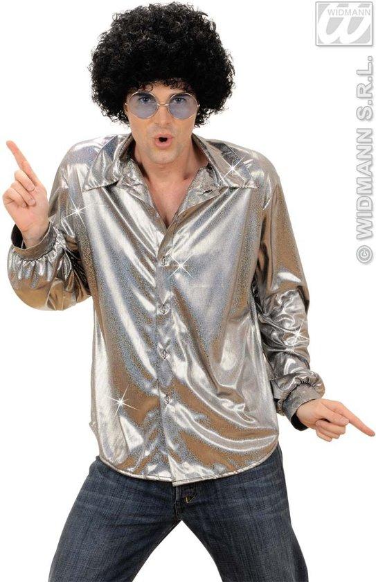 Zilverkleurige disco blouse voor mannen - Verkleedkleding