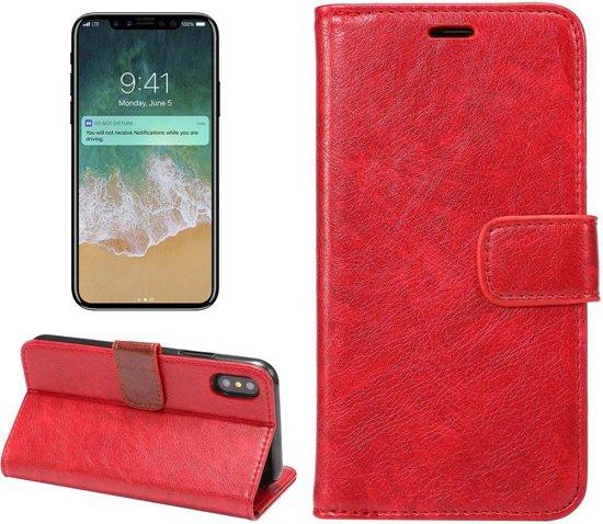 523725ed2f5 bol.com   Rode kunstleren iPhone X portemonnee hoesje