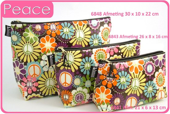 "Vagabond-Toilettas- Medium Sack ""Peace"" 6843-afmeting 26 x 8 x 16 cm"