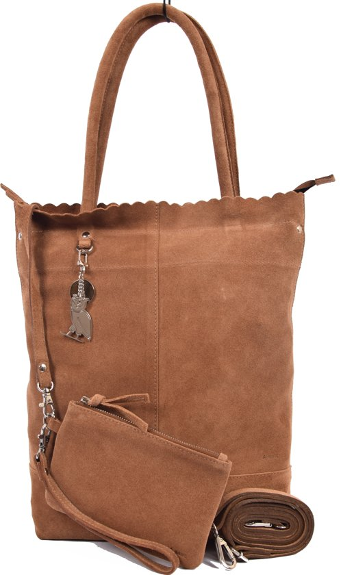 18b2ff30cfe Suéde Shopper,Shopper met een sleutelhanger van 4EAST, Leer shopper met  kleine portemonnee Suéde
