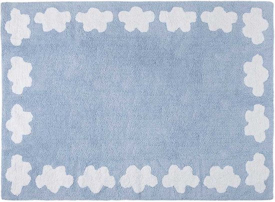 Vloerkleed Blauw Grijs : Bol vloerkleed kinderkamer wolkjes blauw