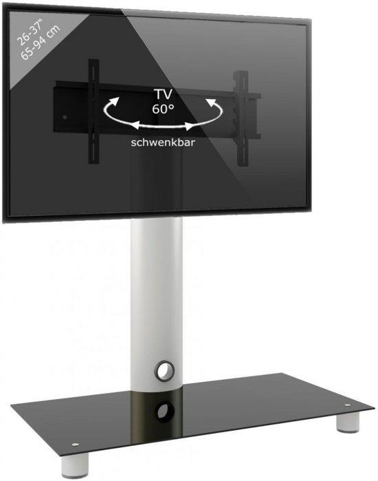 Tv Meubel Standaard Standol Verrijdbaar Zilverzwart Glas