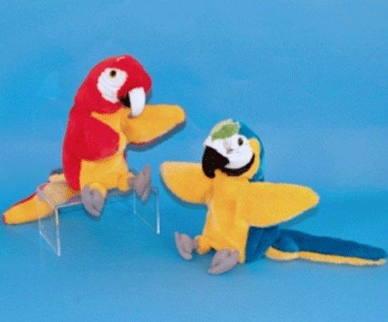 Pluche papegaai handpop rood 28 cm