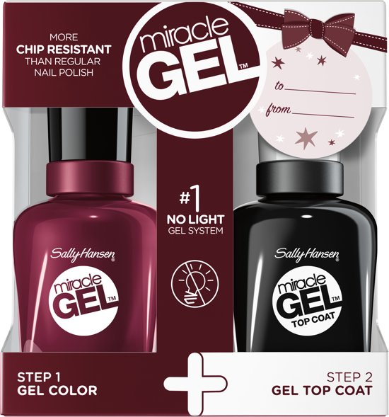 Sally Hansen Miracle Gel + Top Coat DUOPACK - 711 Wine Stock - Gel Nagellak