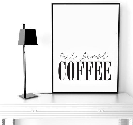 Muurdecoratie Voor Keuken.Bol Com Postercity Design Canvas Poster But First Coffee