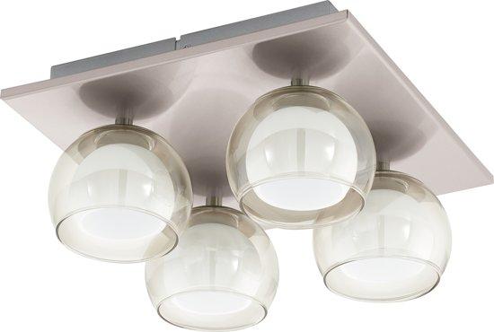 EGLO Ascolese - Plafonnière - 4 Lichts - LED -Nikkel-Mat - Amber, Wit