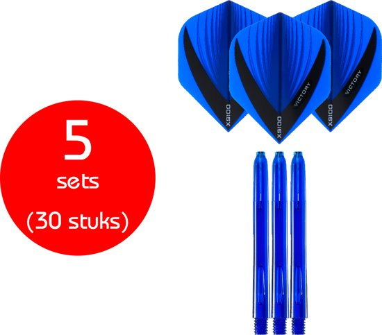 Dragon Darts - 5 sets (30 stuks) - XS edgeglow - darts shafts - inclusief - darts flights - blauw