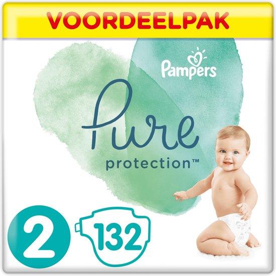 Pampers Pure Protection Luiers - Maat 2 (4-8 kg) - 132 Stuks - Maandbox