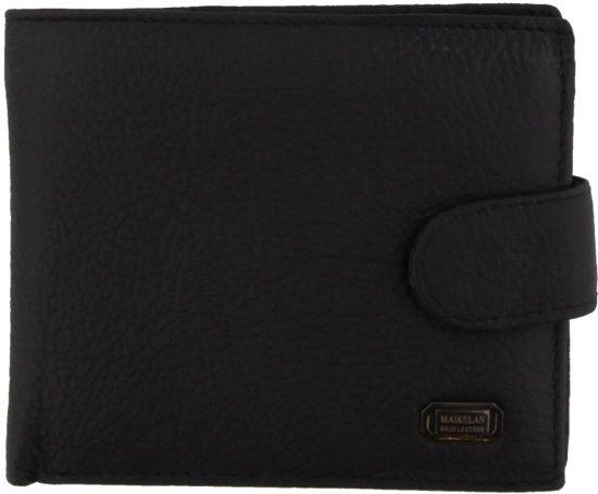 23555959945 Zwarte lederen portemonnee met een vakje voor muntgeld en veel vakjes voor  pasjes