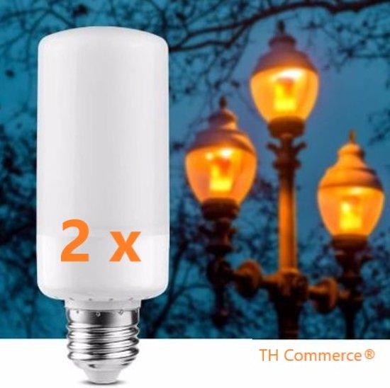 2 stuks VUURLAMPEN - E 27  grote fitting - ledlamp - sfeerlamp - vlammen  nr 1738