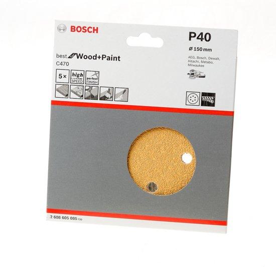 Bosch Schuurschijf wood and paint diameter 150mm K40 blister van 5 schijven