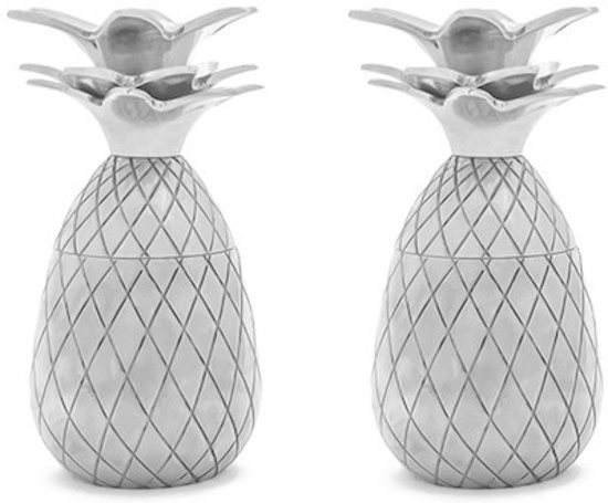 W&P Design Shot Glas Ananas Set van 2 - Zilver