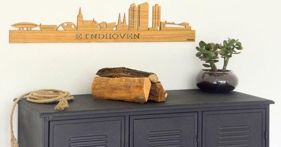 Houten skyline Eindhoven - Decoratie - Eikenhout - 60x13cm