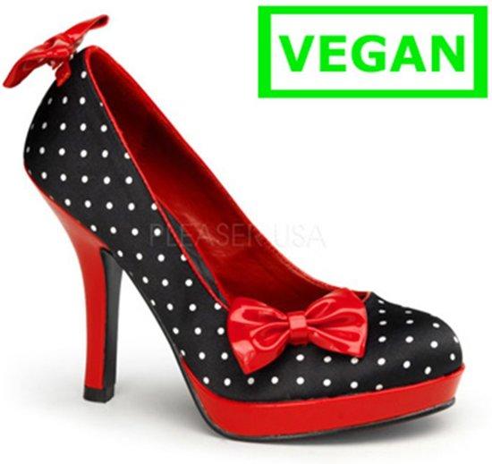 Secret-12 Polka dot black satin/red patent - (EU 40 = US 10) - Pin Up Couture