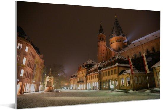 Kathedraal in het centrum van het Duitse Mainz Aluminium 120x80 cm - Foto print op Aluminium (metaal wanddecoratie)