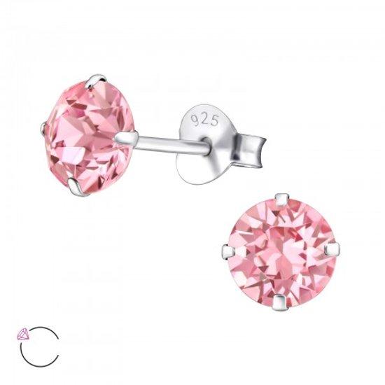 zilveren oorbellen roze steen-swarovski elements kristal