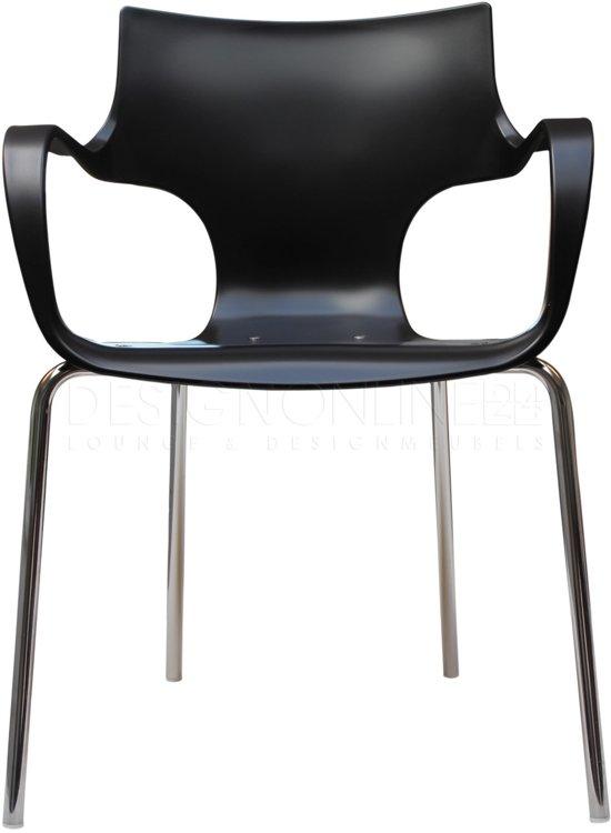 24Designs Stapelbare Stoel Jim - Armleuningen - Zwart