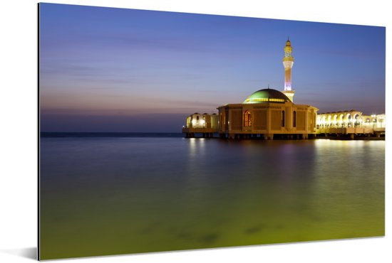 De drijvende moskee in Jeddah Aluminium 90x60 cm - Foto print op Aluminium (metaal wanddecoratie)