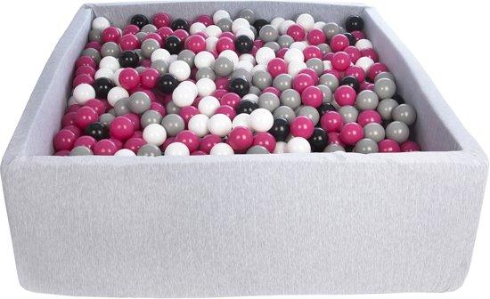 Ballenbak - stevige ballenbad - 120x120 cm - 1200 ballen Ø 7 cm - wit, roze, grijs, zwart.