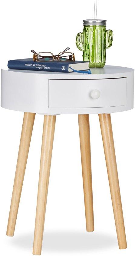 Witte Bijzettafel Met Lade.Relaxdays Bijzettafel Wit Rond Met Lade Salontafel Nachtkastje Scandinavisch Design