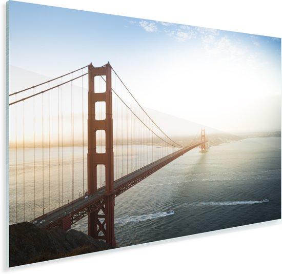Ochtendmist bij de Golden Gate Bridge in Californië Plexiglas 90x60 cm - Foto print op Glas (Plexiglas wanddecoratie)