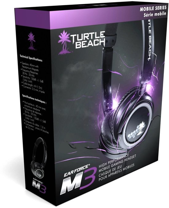 Turtle Beach Ear Force M3 Wired Stereo Headset - Zwart (iPhone + iPad + iPod + NDS + 2DS + 3DS + PS Vita + MP3)