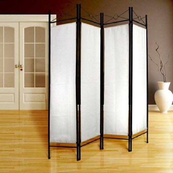 Miadomodo Room Divider | 4-Delig Vouw Kamerscherm | Afm.: 180 x 160 cm | Splitter Screen | Vouwbaar Paravent | Kleur: WIT