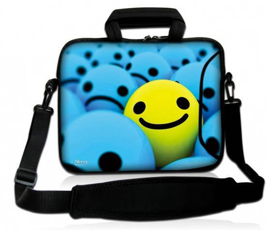c130cb09614 bol.com | Sleevy 17.3 inch laptoptas gele smiley