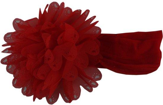 Jessidress Haarband Baby Hoofdband met grote Haarbloem - Rood