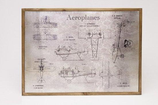 Bol.com hhcp wandkaart vliegtuigen zink hout 50x70x2 8cm