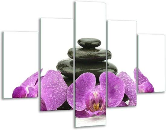 Glasschilderij Orchidee | Paars, Zwart, Wit | 100x70cm 5Luik | Foto print op Glas |  F005797