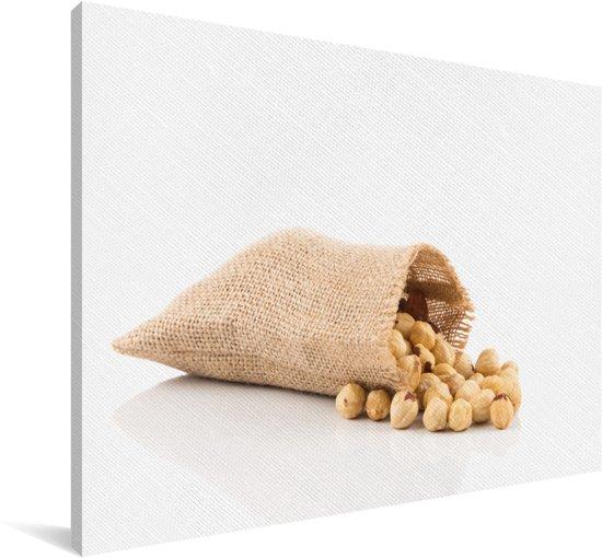 Close up van jutezak vol met hazelnoten Canvas 90x60 cm - Foto print op Canvas schilderij (Wanddecoratie woonkamer / slaapkamer)