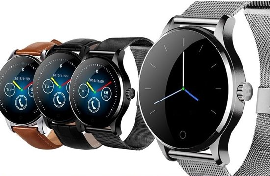 Overmax Touch 2.5 (B) Smartwatch met hartslagmeter met stalen en extra leren band, voor Ios en Android