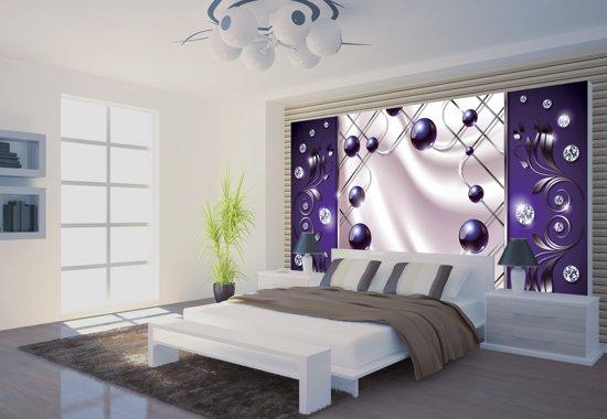 Paarse Accessoires Slaapkamer : Bol fotobehang papier modern slaapkamer zilver paars