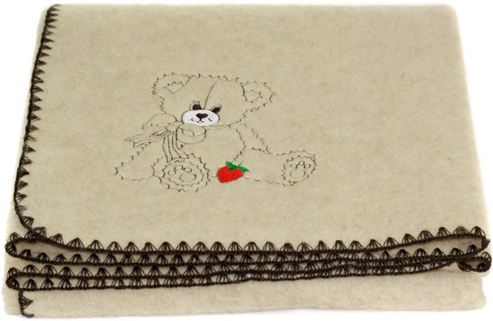 Eco babydekentje Beertje - 50% wol; 50% linnen - beige - Merk: MOST