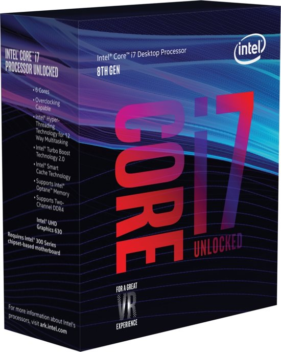 Intel Core ® ™ i7-8700K Processor (12M Cache, up to 4.70 GHz) 3.7GHz 12MB Smart Cache Box processor